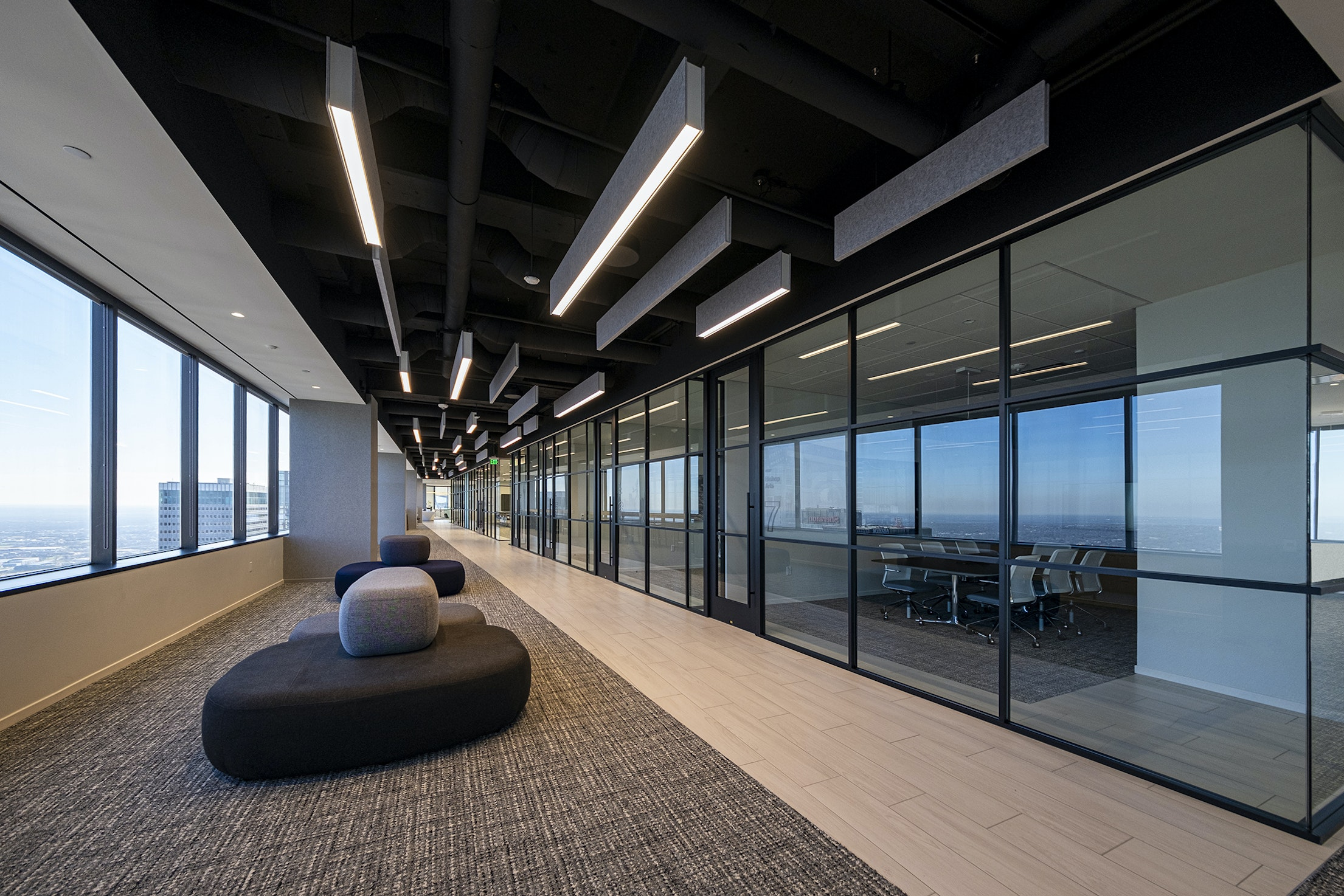 Lightart willis tower dallas acoustic static slim baffle workplace open office corporate