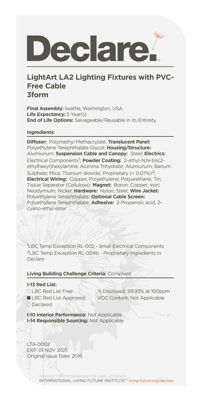 Lightart LA2 PVC Free Fixtures Declare Label